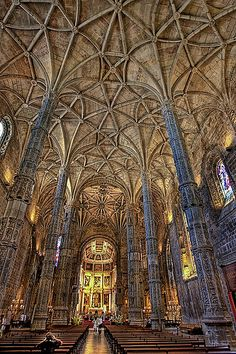Carved Columns and endless Vaulting at Mosteiro do Jeronimos by Rui M Leal, via Flickr