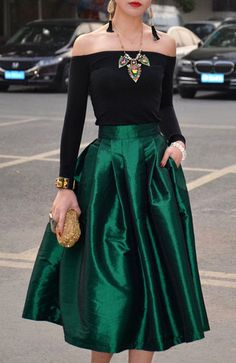 CLASSY SKIRT I NEED THIS!!! &15.99- Green Empire Waist Mid-Calf Skirt – Korrine's Fashion Boutique