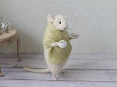 Felted Mouse Mouse With a Cup Needle Felted Mouse Cute