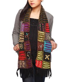 Take a look at this Black & Brown Patchwork Scarf by Rising International on #zulily today!