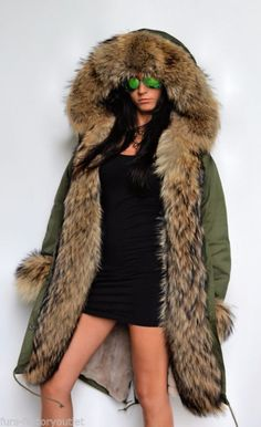 NEW 2015 MILITARY PARKA COAT RACCOON FUR CLASS- SABLE FOX CHINCHILLA MINK JACKET