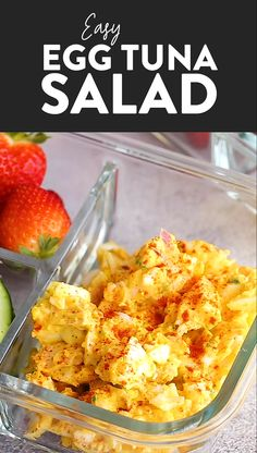 Apr 2019 - This Tuna Egg Salad blends the flavors you love from tuna salad with egg salad for a satisfying and protein-packed lunch! Filled with a short list of real ingredients, this tuna egg salad recipe can't be beat. Lunch is served! Healthy Tuna Recipes, Best Egg Recipes, Canned Tuna Recipes, Healthy Foods To Eat, Fish Recipes, Salad Recipes, Cooking Recipes, Healthy Eating, Egg Recipes For Lunch