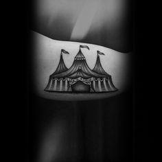 60 Circus Tattoos For Men - Entertaining Design Ideas Bro Tattoos, Body Art Tattoos, Tattoos For Guys, Sleeve Tattoos, Circus Elephant Tattoos, Carnival Tattoo, Dark Circus, Theme Tattoo, 1 Tattoo