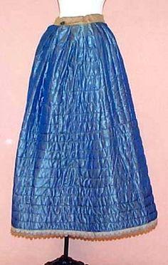 Civil War era blue quilted petticoat