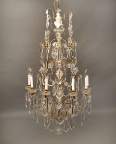 A Wonderful Late 19th Century Gilt Bronze and Baccarat Crystal Twelve Light Chandelier