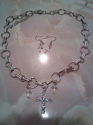Silver Cross Necklace 2pc Set