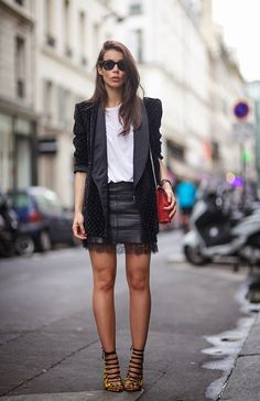 Very French - oversized blazer + leather skirt + delicate lace + oversized white t shirt + strappy sandals + red bag