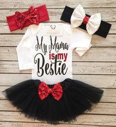 Baby Girl Clothes Mama Is My Bestie Bodysuit Mama por BellaPiccoli