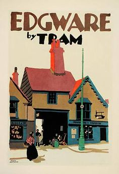 1929 Frank Newbould Edgware London Tram  Poster UK