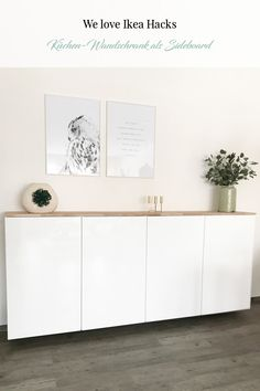 Ikea Hack - Metod Küchenschrank als Sideboard ⋆ elfenweiss Ikea Hack: Metod wall cabinet as a sideboard. Do we all love Ikea hacks? Here you can see Metod kitchen cabinets as a sideboard - you can fin Kitchen Decor, Ikea Hack, Ikea Hack Kitchen, Decor, Furniture, Wall Cabinet, Cabinet, Sideboard, Ikea Sideboard