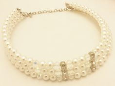 Rhinestone and Faux Pearl Vintage Choker by TheJewelryCabinet
