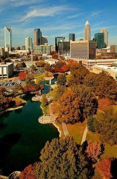 Autumn skyline of Charlotte North Carolina