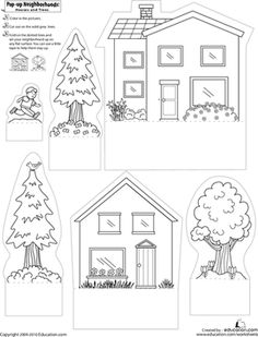 First Grade Paper Projects Worksheets: Pop-Up Neighborhoods: Houses and Trees
