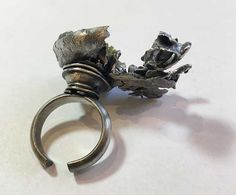 Water-cast ring with green crystal. Prong Set, Hamilton, It Cast, Crystals, Create, Metal, Water, Green, Silver