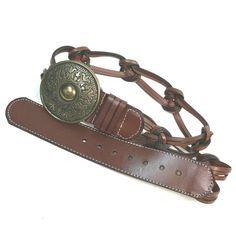 Rolfs Brown Western Leather Belt Braided Round Brass Buckle Womens Medium #Western  #WaistBelt