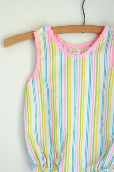 Vintage girls romper striped 9 months by fuzzymama on Etsy, $8.00