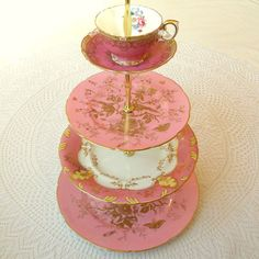 Hot pink and gold with birds large 4-tier tea and cupcake stand with rococo details and Marie Antoinette style by HighTeaForAlice