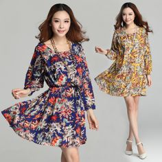 2014 Spring Chiffon Vintage Loose Dress Fashion Women Casual Long Shirt New Arrival Plus Size Printing Dress Ladies Clothing Hot