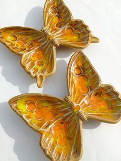 California Pottery Butterfly Ashtrays or Trinket Dishes #retro #vintage #boho