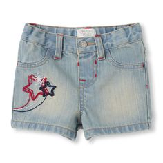 True blue denim and patriotic embellishments make these cute shorts as fun as fireworks!