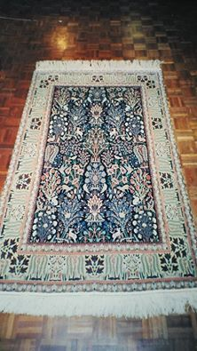 "An antique Persian Nain created since 1950. A wool and silk piece, it presents the scene of Paradise. Size: 6'0"" by 3'9""."