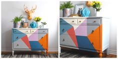 Former #PainterInResidence Jelena Pticek of Poppyseed Creative Living used different colored triangles to give this piece a funky geometric look. | The Palette Blog