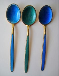 You don't need a silver fork to eat good food. Paul Prudhomme | www.TwoPinkHouses.com -  vintage David Andersen sterling enamel spoons