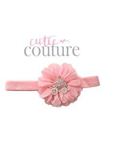 Luciana roze prinses hoofdband roze met van CutieCoutureCo op Etsy