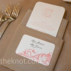 Real Weddings - An Outdoor Wedding in Chicago, IL - Coral Menu Cards