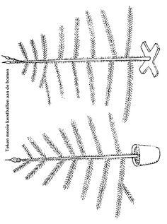 Afdrukken op lichtgroen en slingers erin tekenen en ballen