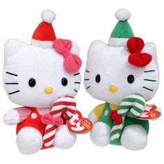 Hello Kitty ty beanie babies holding a candy cane- great for christmas!