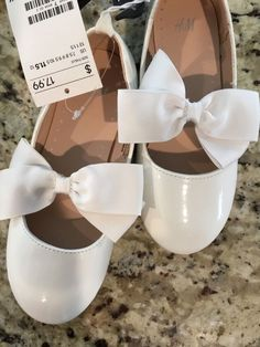 7afee92ab3af H M GIRLS SHOES NWT WHITE FLAT SHOE WITH BOW US 11.5 more sizes available   fashion  clothing  shoes  accessories  kidsclothingshoesaccs  girlsshoes  (ebay ...