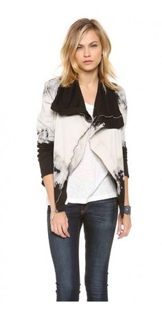 YOUNG FABULOUS & BROKE  GRETA JACKET $41.40 Dip-dye stripes make a statement on a lightweight jersey jacket. A covered placket zips up to the funnel neckline. Welt pockets. Double layered.
