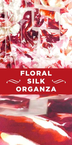 Floral Polyester/Silk Blend Organza with Geometric Burnout in Red