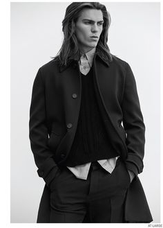 """Travis Smith stars in editorial for the December 2014 edition of At Large Magazine. The spread called """"The Minimalist"""" shows the latest male fashion trends with styling by Bill Mullen and photography by Matthew Brookes."""