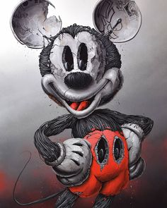Mickey Mouse [as a monster] (Drawing by PezArtwork Cartoon Kunst, Cartoon Art, Cartoon Characters, Graffiti Art, Cheshire Cat Art, Hybrid Art, Mickey Mouse Cartoon, Disney Mouse, Psychadelic Art