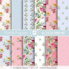Shabby Chic Digital Paper Pack Blue and Pink by blossompaperart