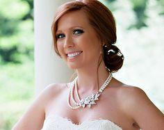 Pearl zurück Drop Halskette Bridal Kulisse Perle Halskette