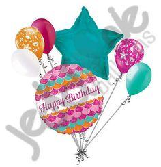 7 pc Pink Sparkle Happy Birthday Balloon Bouquet Gift Fish Mermaid Princess Sea