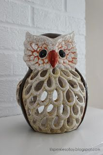 Owl tealight holder -- adorable addition to any mantel.