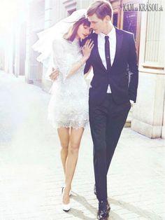 Krátke svadobné šaty