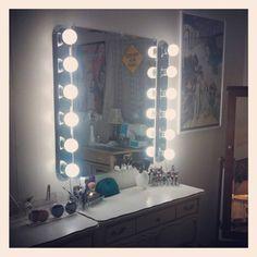 Frameless XL Hollywood Forever Lighted Vanity Mirror w LED Bulbs