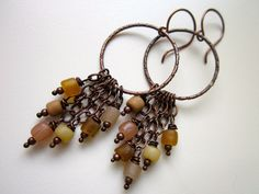 TortoiseShell - wire wrapped brown, caramel, nude, and fawn Indonesian recycled glass beads and hammered copper hoop chandelier earring pair