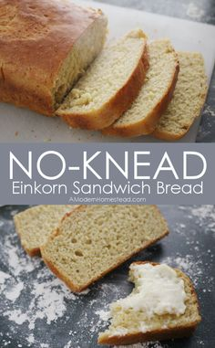 Kneading bread can be fun, but NOT kneading bread is ever MORE FUN! Yes, I hate getting my hands all dirty and this bread is super fast too. I can make it while my coffee brews in the morning. BAKE ALL THE FRESH BREAD! No Knead Einkorn Sandwich Bread Easy Keto Bread Recipe, Sandwich Bread Recipes, Best Keto Bread, Easy Cake Recipes, Real Food Recipes, Sandwich Loaf, Einkorn Bread Machine Recipe, Bread Diet, Homemade Sandwich