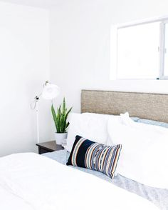 """JoyBound Apparel + Abode on Instagram: """"Simple bedding with a pop of Sucre is where it's at. We love how the simple addition of our Sucre Lumbar pillow can transform a room. AND the fact that it's artisan made. We hope your Monday morning is as bright as this space! ✌️"""""""