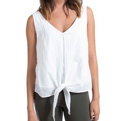 VELVET By Graham & Spencer Janna Sleeveless Tie Front Tank Blouse White S $138 #VelvetbyGrahamSpencer #TankCami #Casual