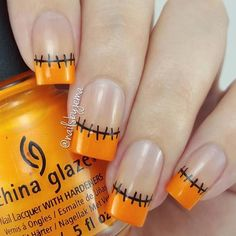 Halloween French nails by See more amazing nail art videos with the FREE Song: Stitches - Shawn Mendes Nail Art Halloween, Halloween Nail Designs, Creepy Halloween, Ombre Nail Designs, Fall Nail Designs, French Nails, Nail Art Abstrait, Gel Nagel Design, Nails 2018