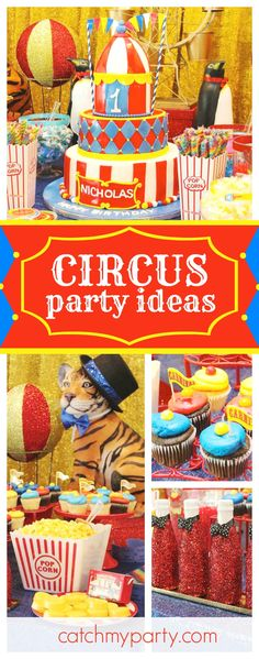 Join in the fun at this amazing Circus birthday party! The dessert table is awesome!! See more party ideas and share yours at CatchMyParty.com #Circus