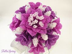 French Beaded Flowers, Shades of Purple Lily Bridal Bouquet for wedding