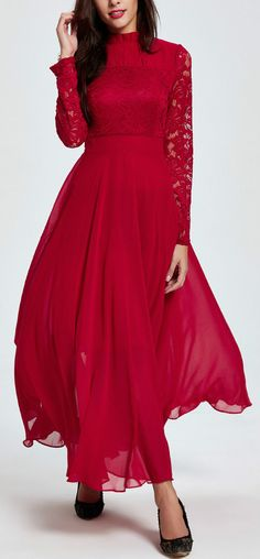 Women's Long Sleeve Floral Lace Maxi Evening Prom Dress